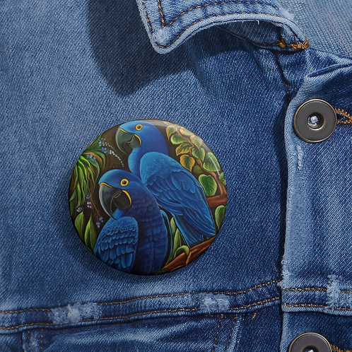 Blue Macaw - Pin Buttons