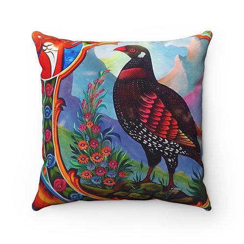 Black Partridge - Spun Polyester Square Pillow