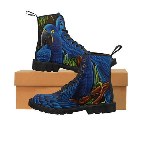Blue Macaw Women's Canvas Boots, Black Soles