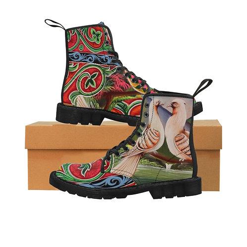 Lovey Doves Women's Canvas Boots, Black Soles