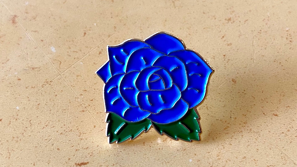 Blue Rose Enamel Pin - Jenni's Prints x Twede's Cafe