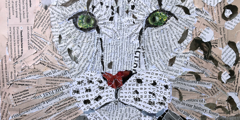 Endangered Snow Leopard Art Collage - Art Workshop for Kids
