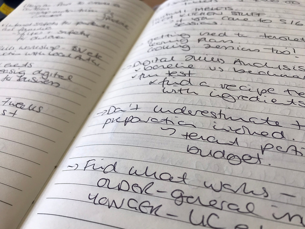 An open notebook with writing from a conversation