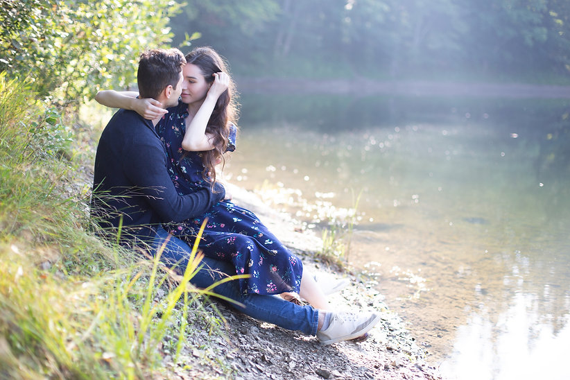 Lovers by a Pond