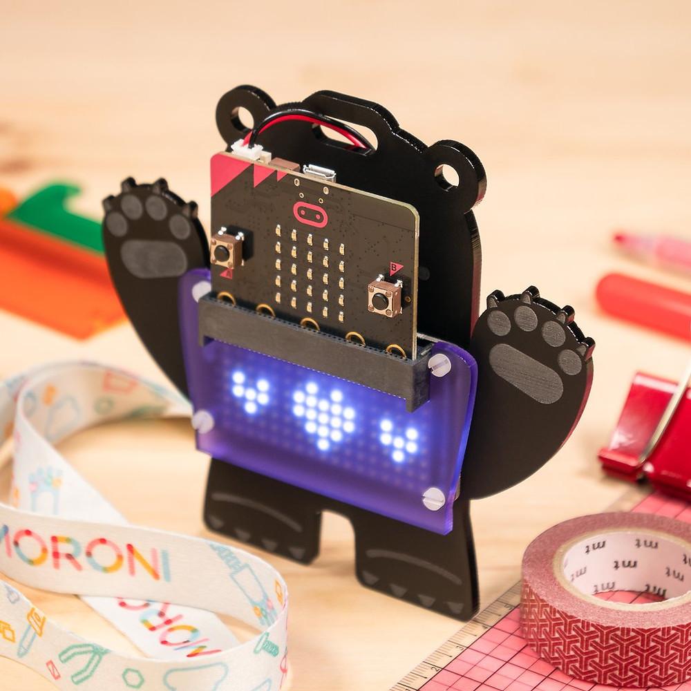micro:bit wearable bear badge kit from Pimoroni