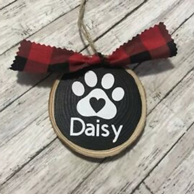 Personalized Pet Name Wood Sliced Ornament