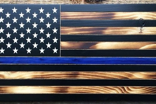 "Rustic Wooden ""Thin Line"" American Flag"