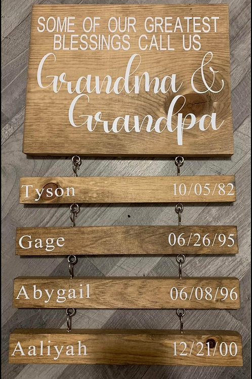 Custom Grandparents Main Sign