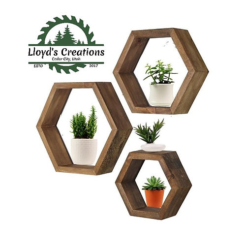 Hexagon Wood Honeycomb Shelves