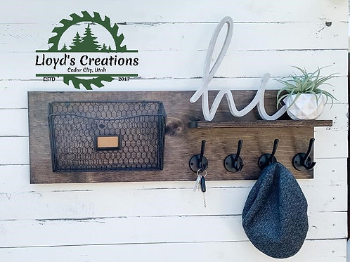 Entryway Key/Coat Holder & Mail Organizer