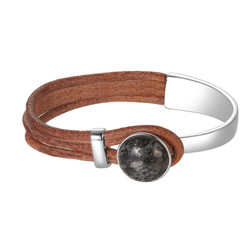 Leather and Granite Bracelet