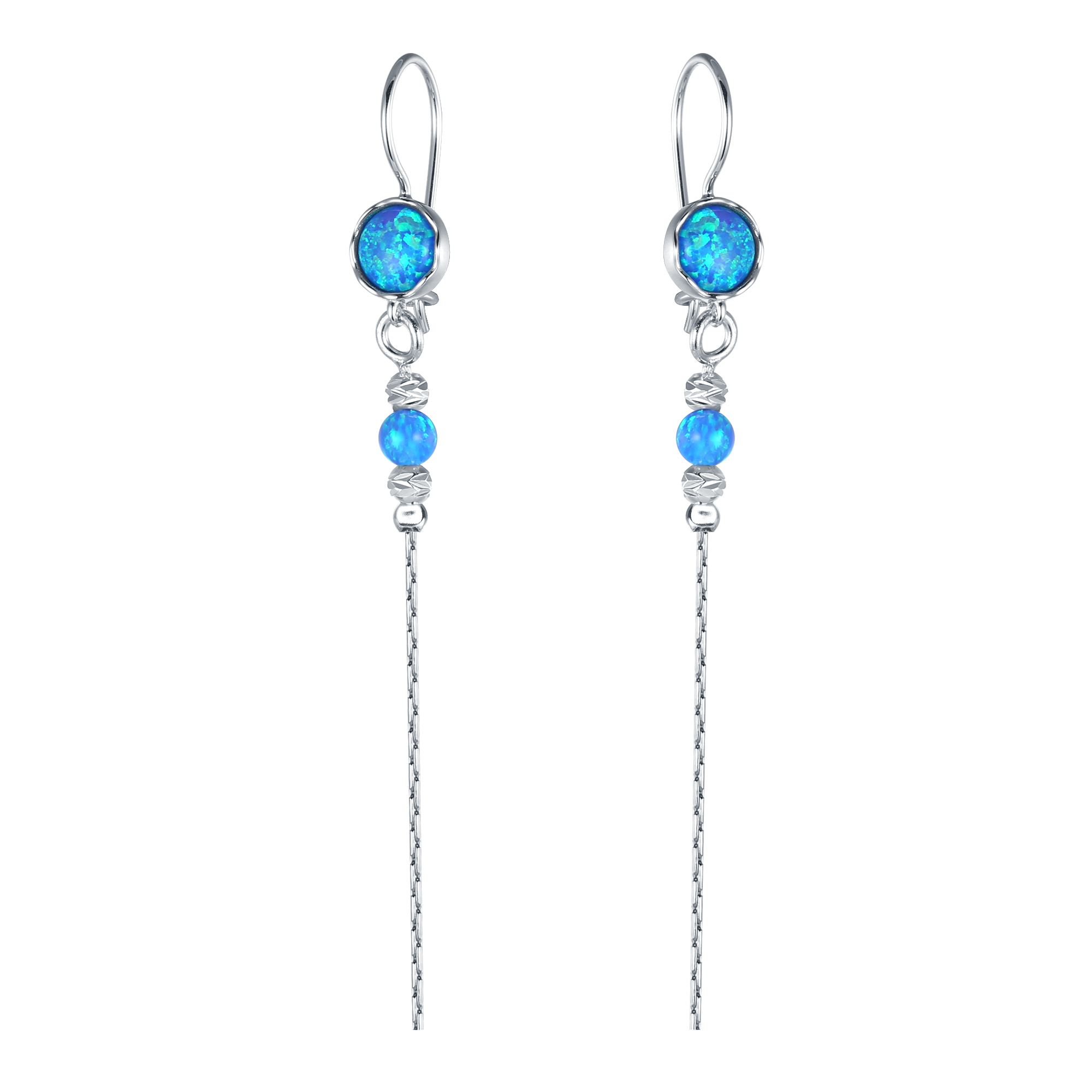 Opal Chain Drop Earrings