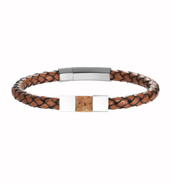 Men's Leather and Granite Bracelet
