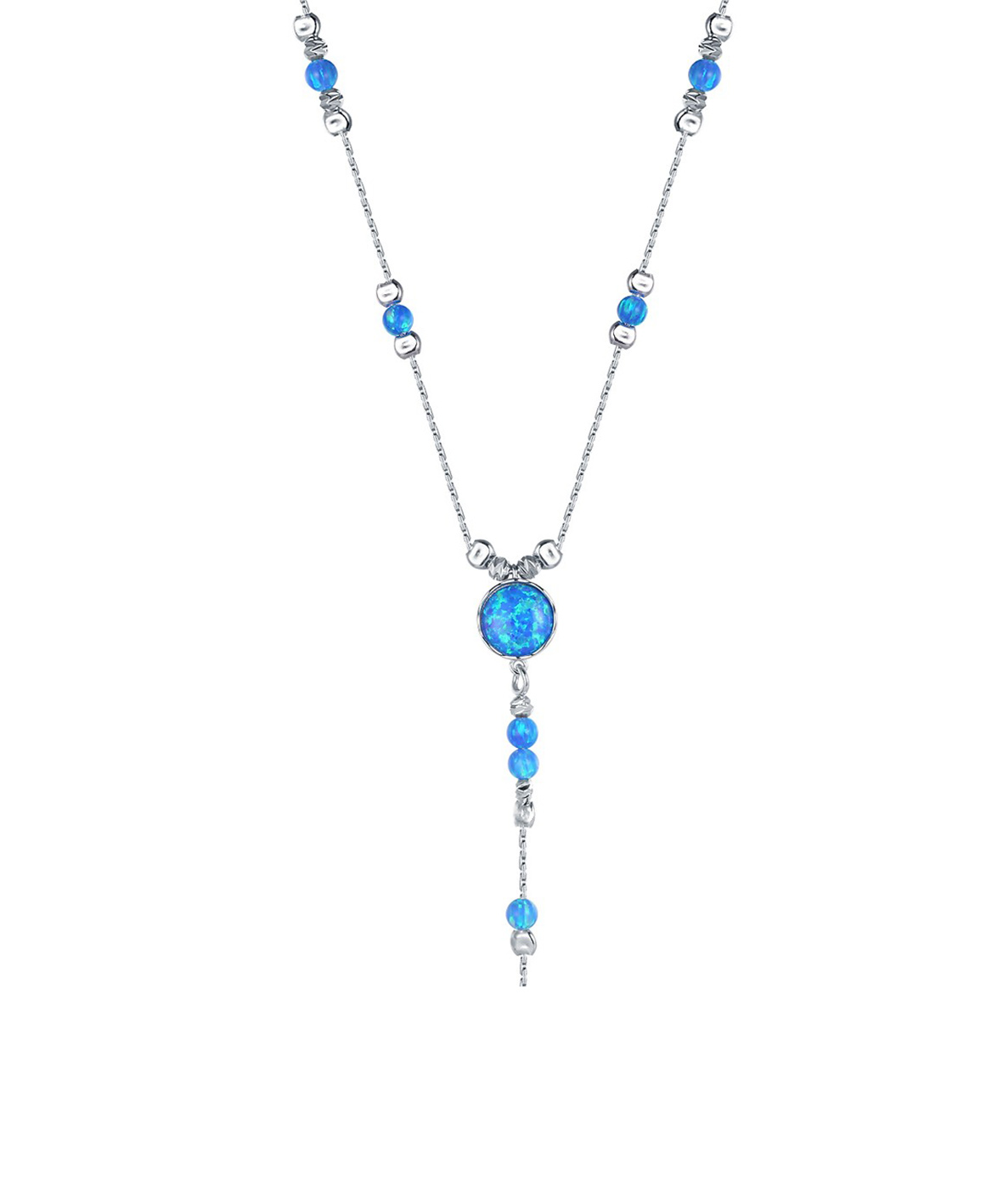 Opal Chain Drop Necklace