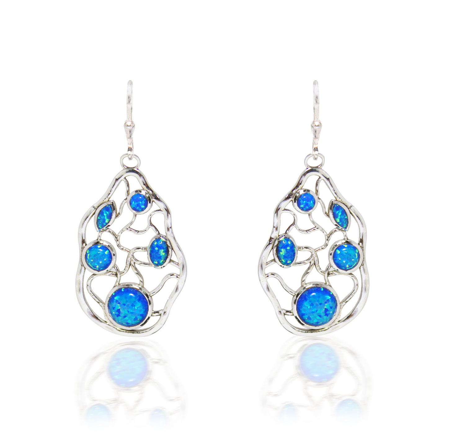 Blue Opal Maze Earrings