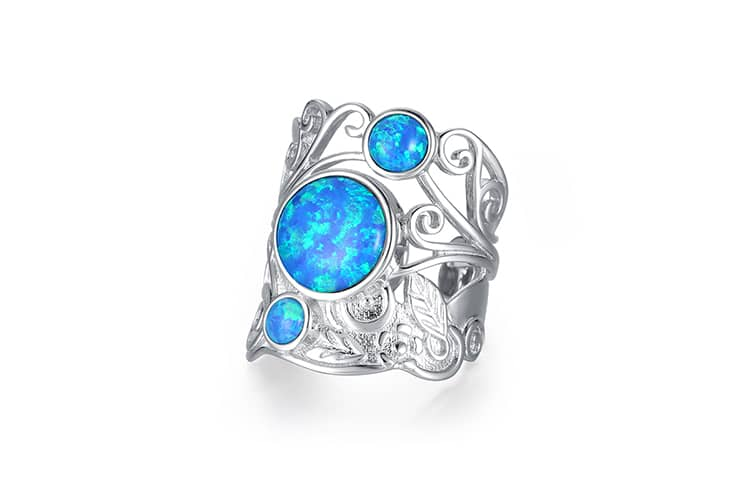 Three Opal Adjustable Ring