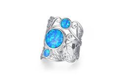Three Opal Adjustable Ring