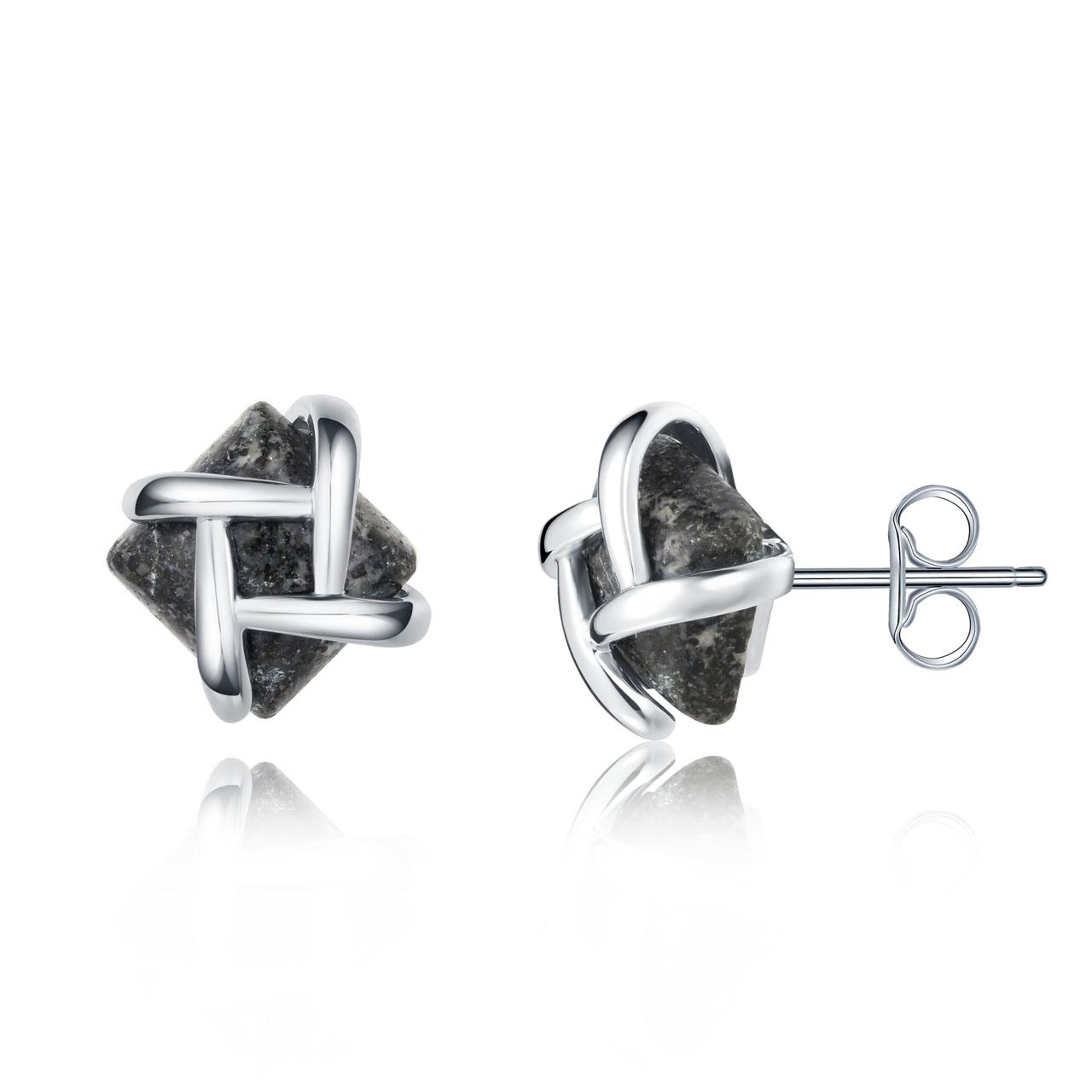 Silver Dash Granite Studs