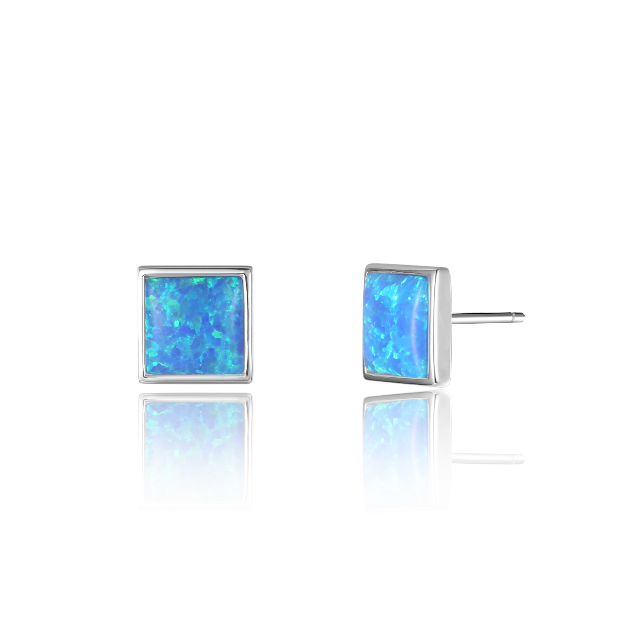 Square Opal Stud Earrings