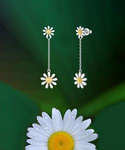 Double Sided Daisy Drop Earrings