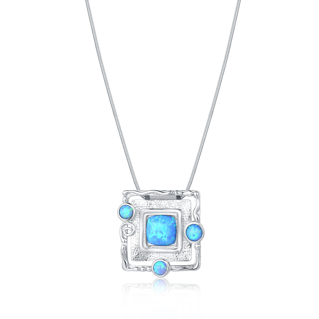 Square and Circle Opal Necklace