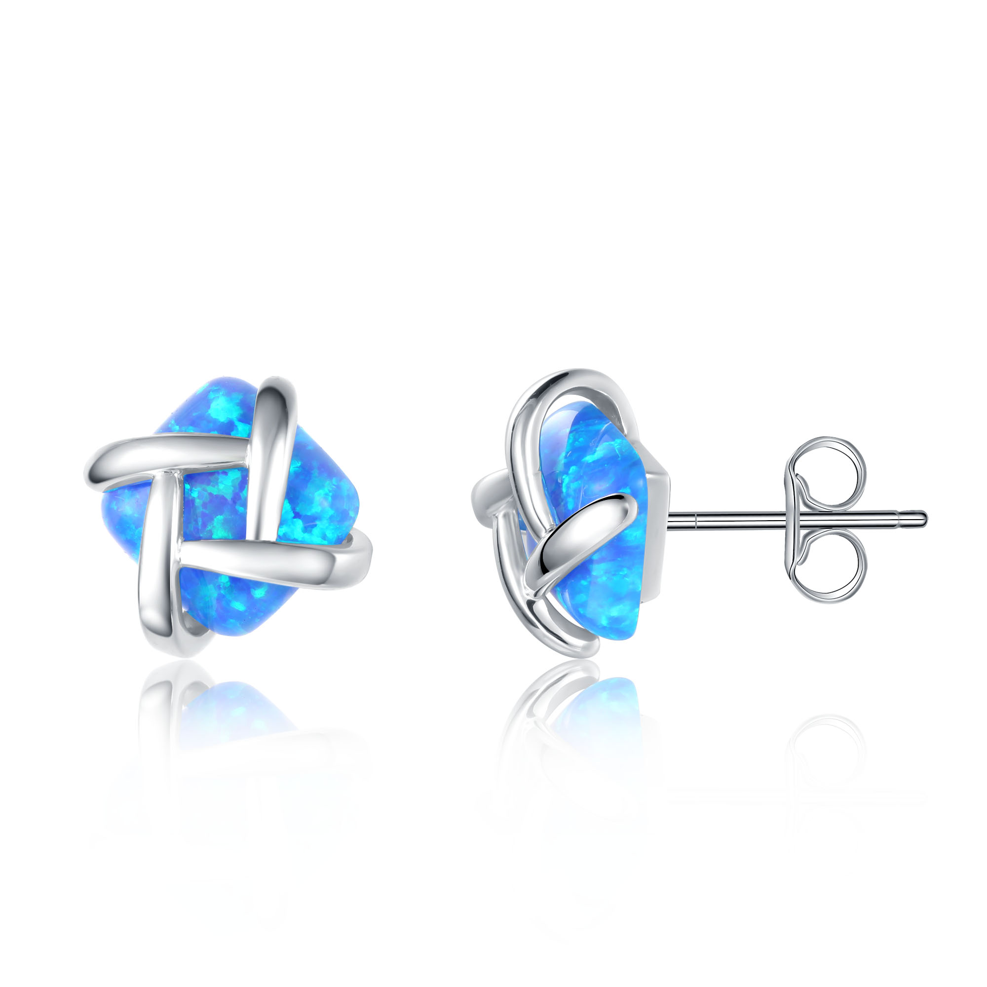 Silver Dash Opal Earrings