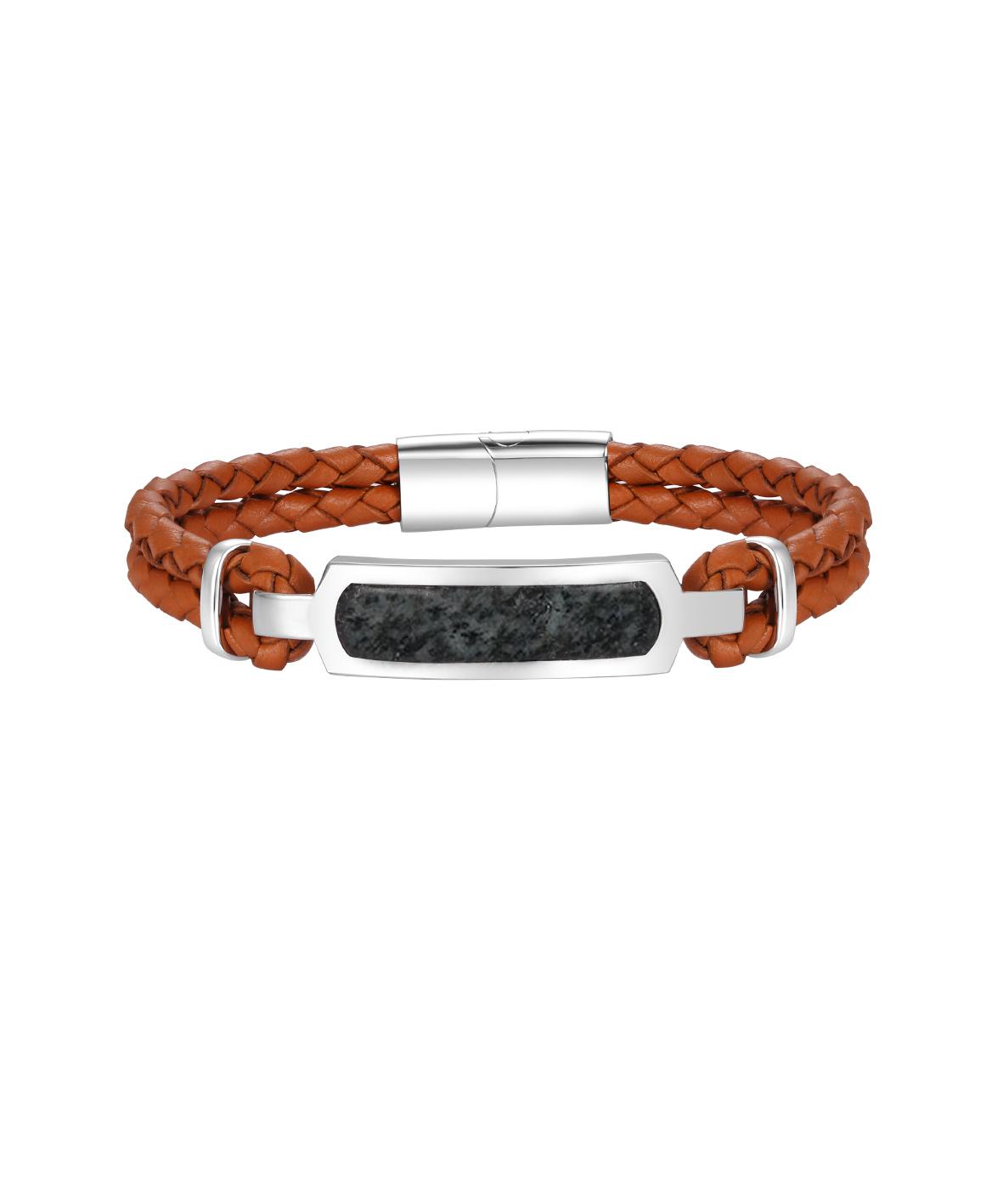 Mens Granite Leather Bracelet