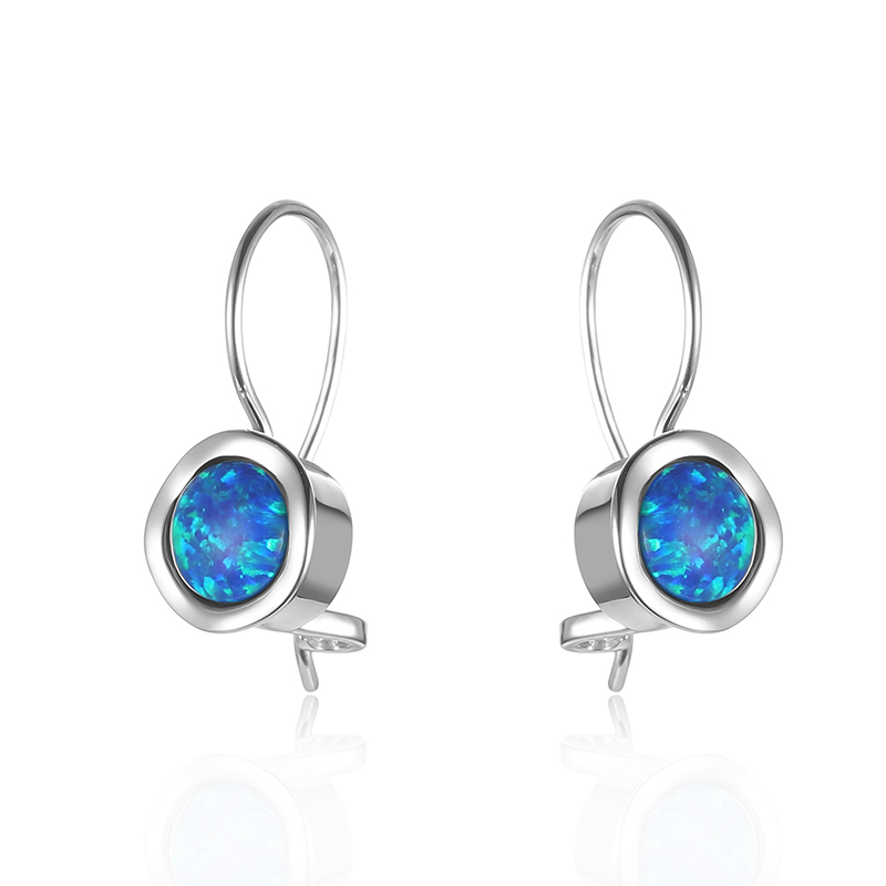 Round Opal Hook Earrings