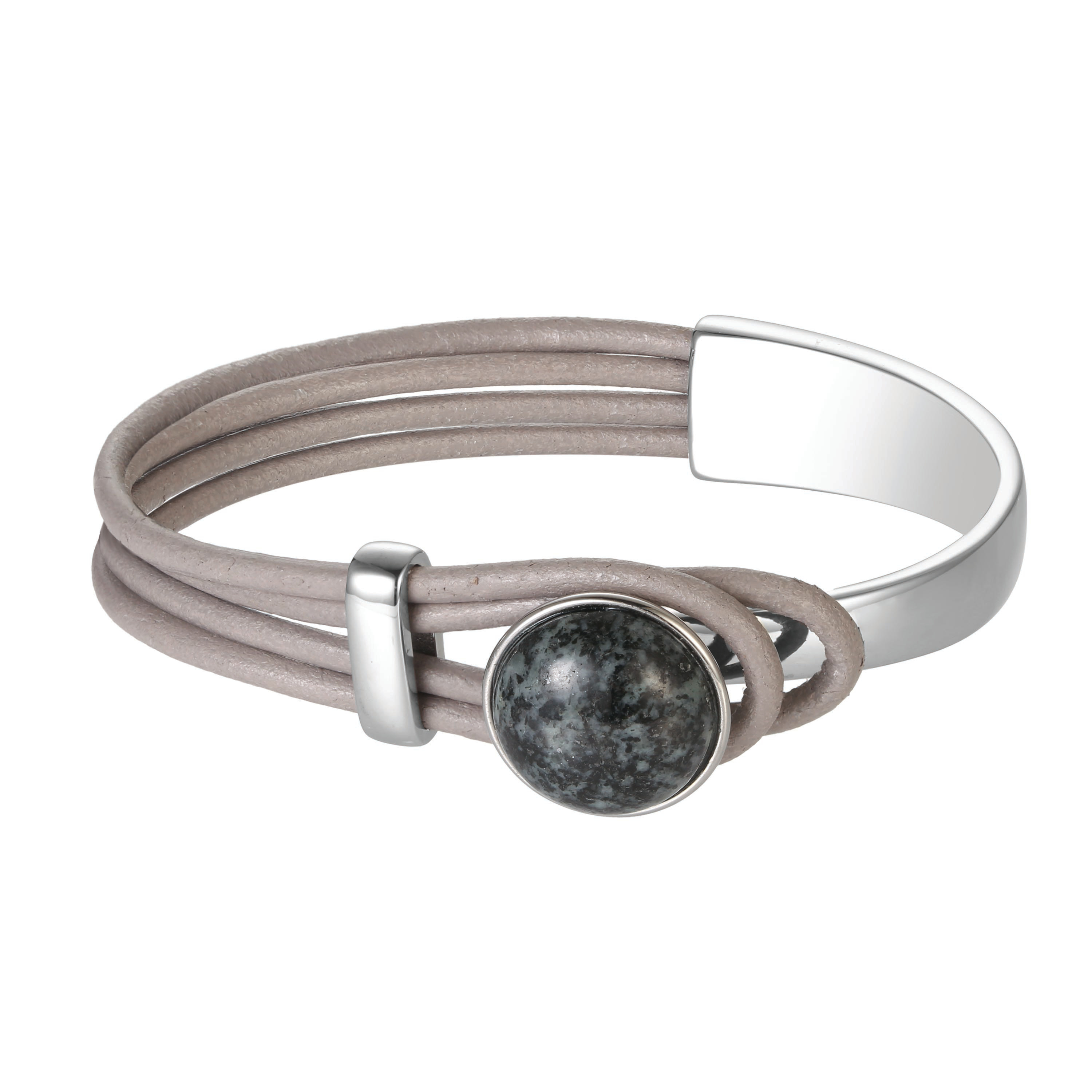 Leather and Granite Bracelet