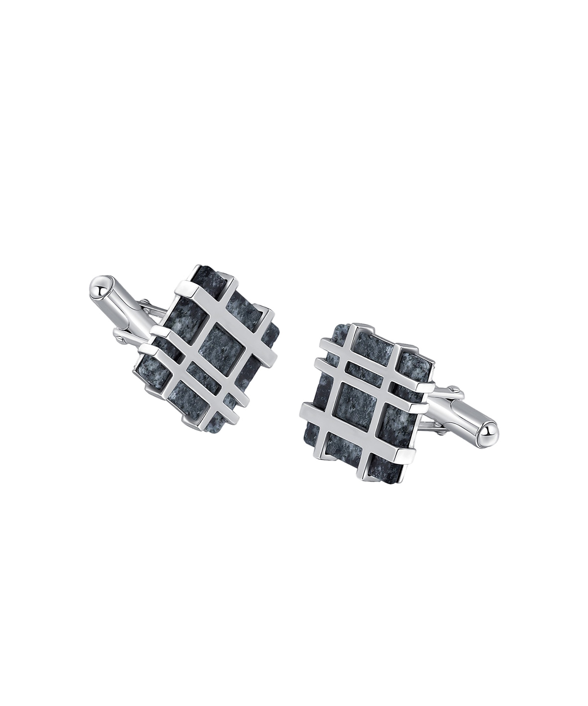 Silver Lines Square Cufflinks