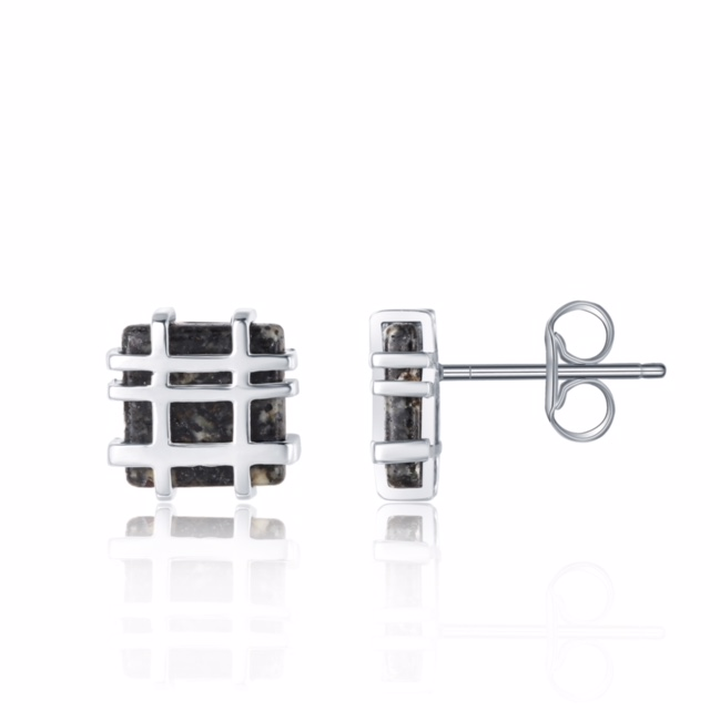 Jersey Granite Square Lines Studs