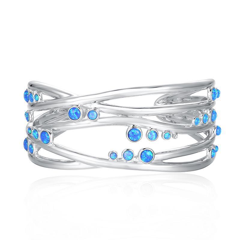 Silver Lines Opal Bangle