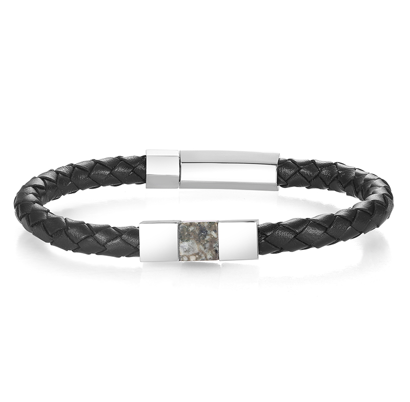 Men's Leather and Granite Bracelet