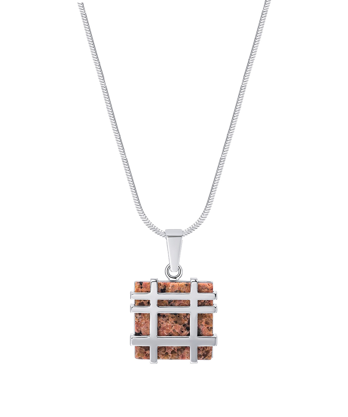 Jersey Granite Square Lines Necklace