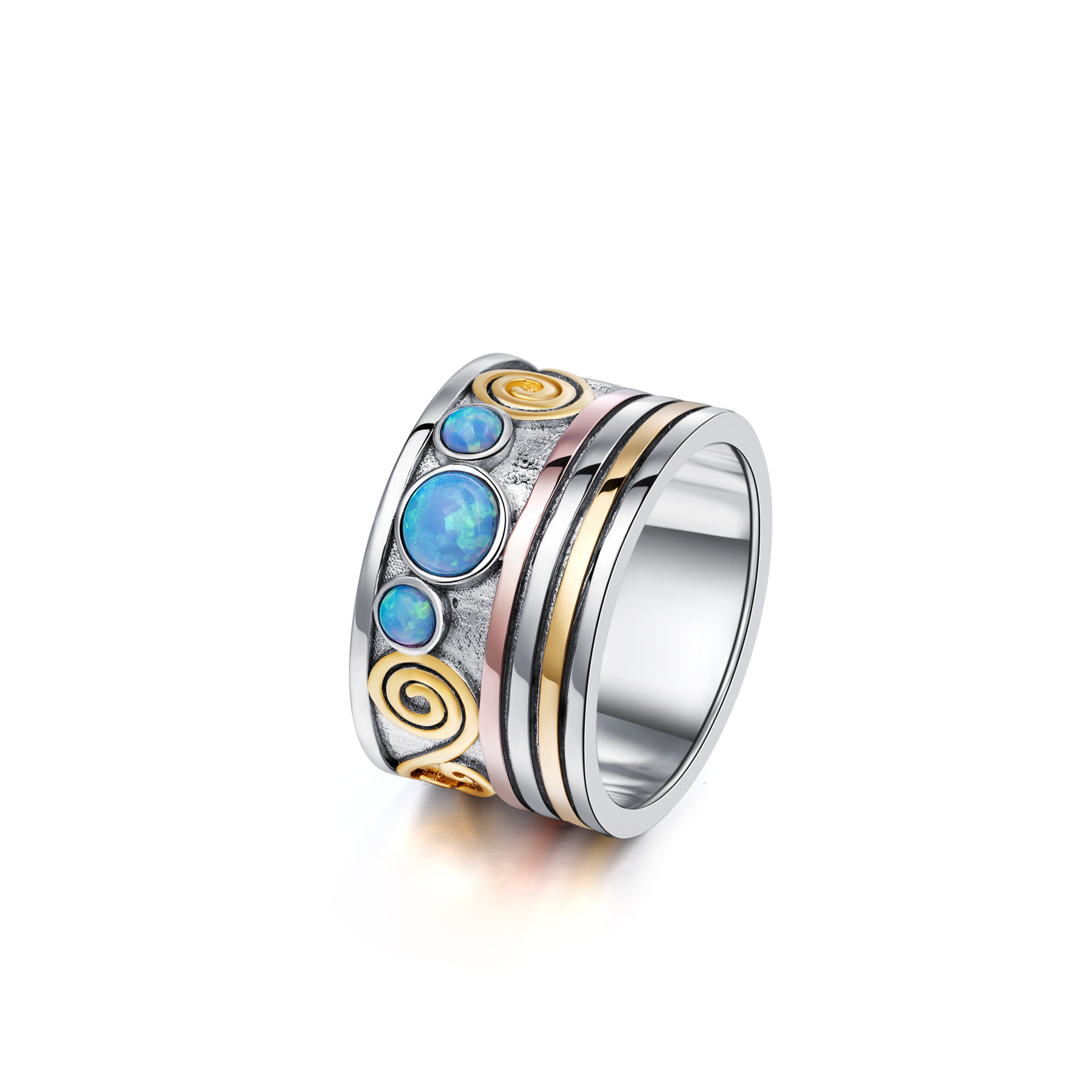Silver, Rose Gold and Gold Opal Ring