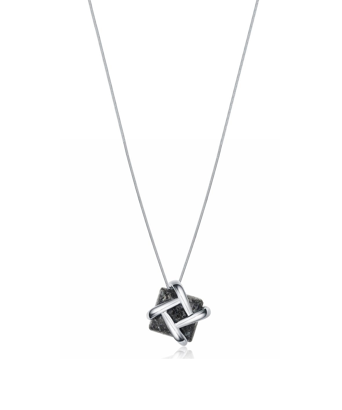Silver Dash Granite Necklace