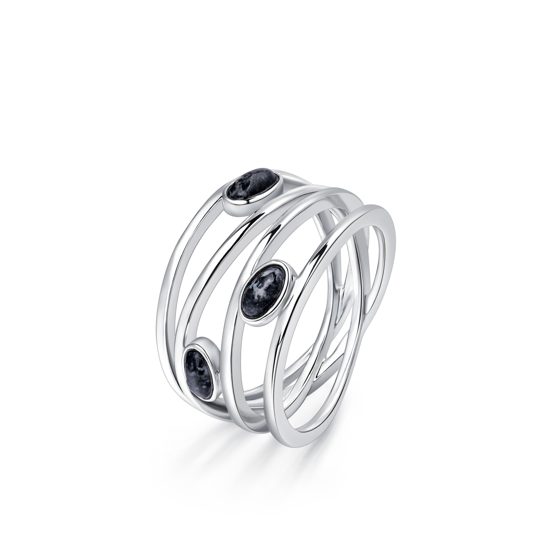 Silver Lines Granite Ring