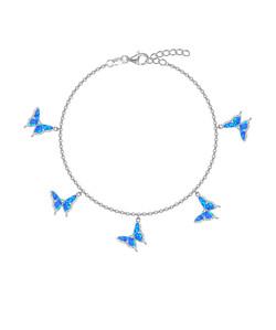 Opal Butterfly Charm Bracelet