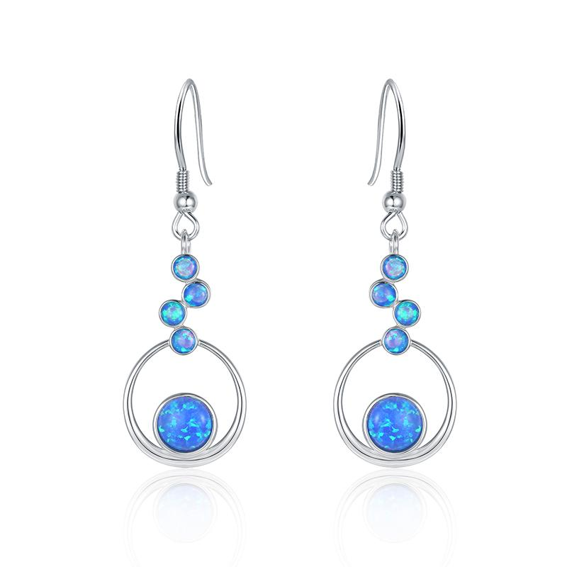 Floating Stone Opal Earrings