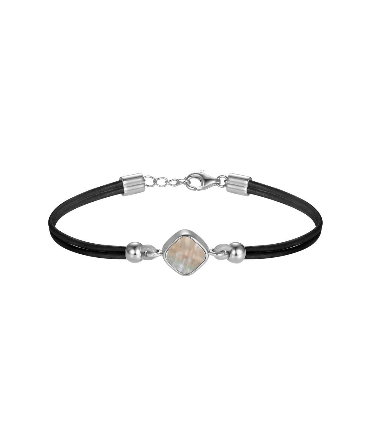 Ormer Silver Leather Bracelet