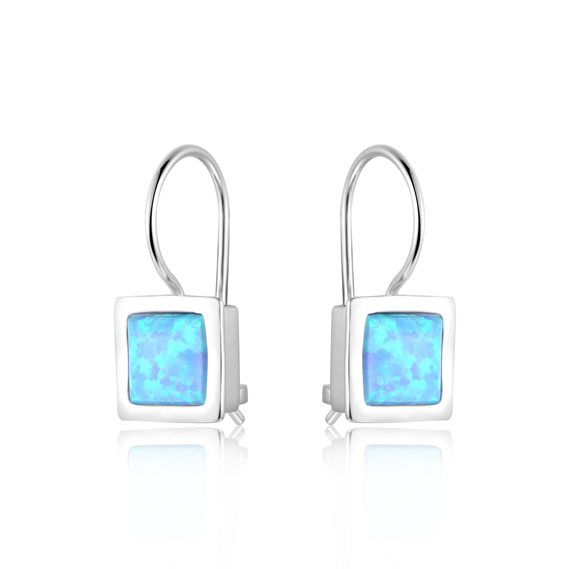 Square Opal Hook Earrings