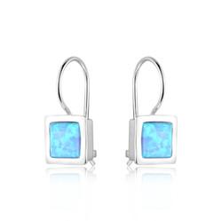 Square Opal Hook Earrings