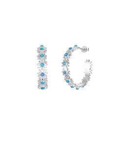 Opal Daisy Hoop Earrings