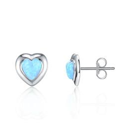 Opal Heart Studs