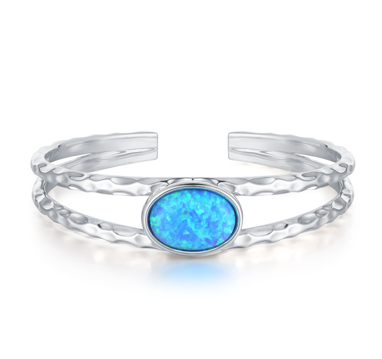 Hammered Silver Opal Bangle
