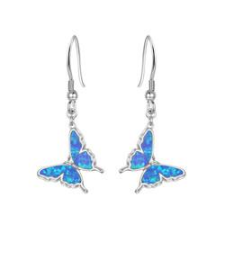 Opal Butterfly Drop Earrings