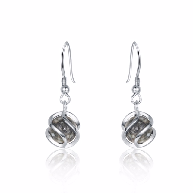 Cage Ball Granite Earrings