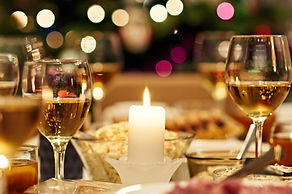 Warm mood around dining table full of a