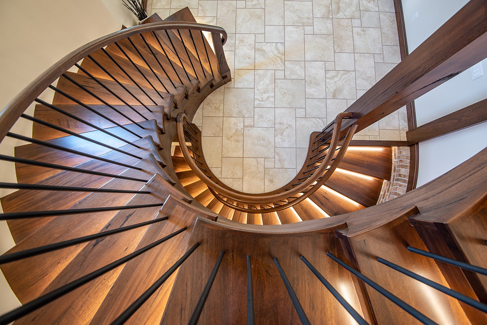 Medieval Walnut Circular Stairs with LED Lighting