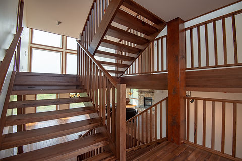 Medieval Walnut Stairs with Wood Spindles and Railing